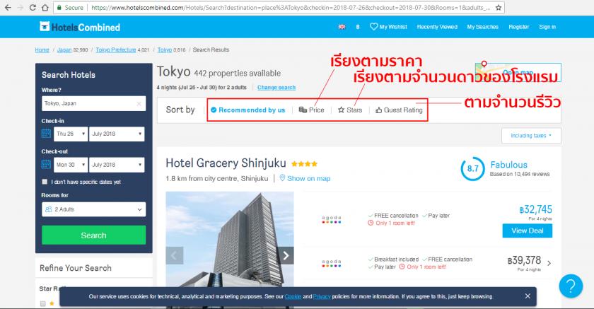 ค้นหาโรงแรมราคาถูก hotelscombined.com hotel list
