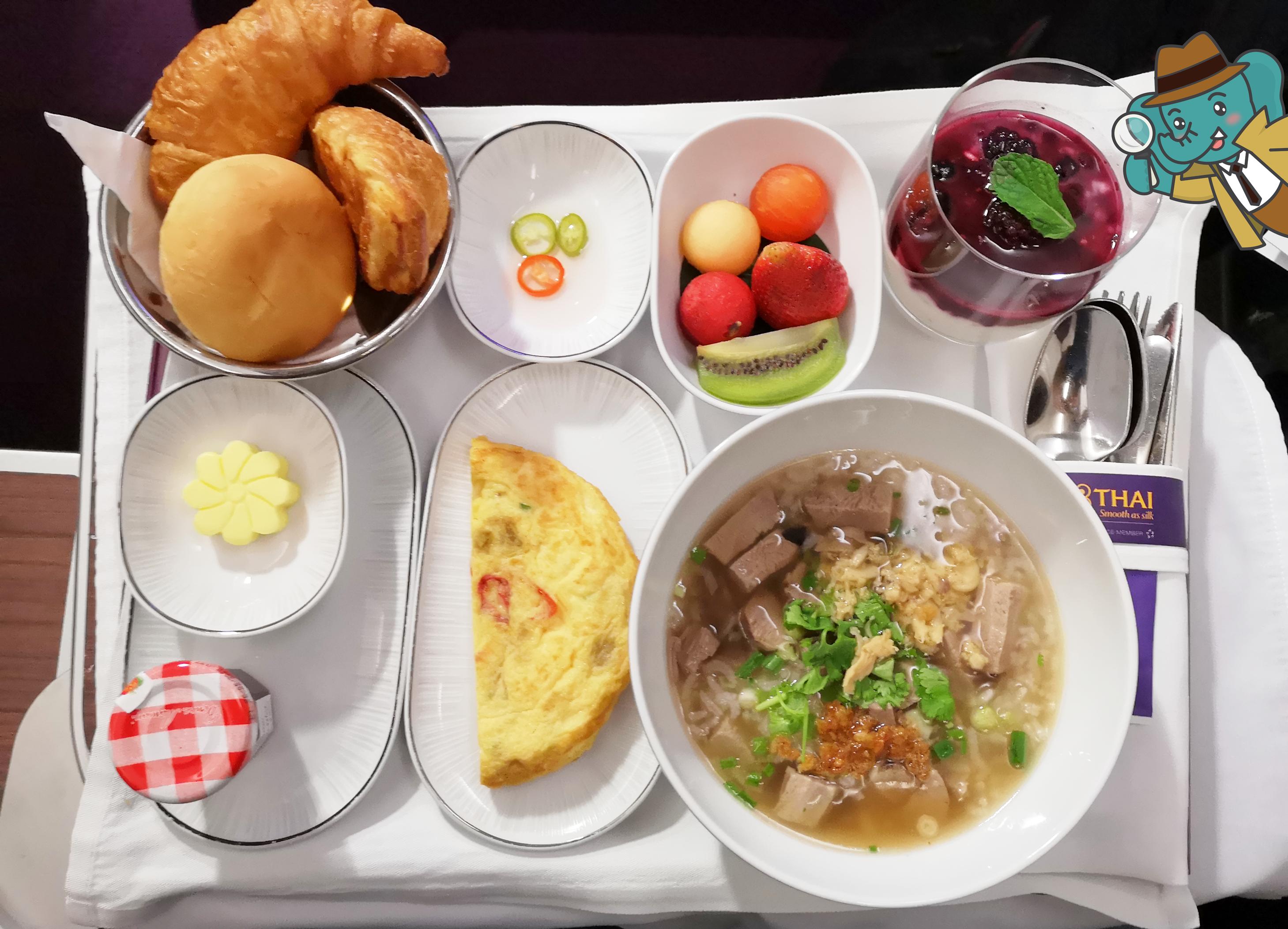 Business Class Thai Airways Food ข้าวต้มเป็ด